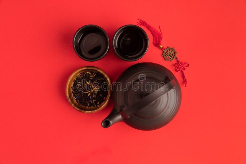 东方装饰和茶具 免版税库存照片