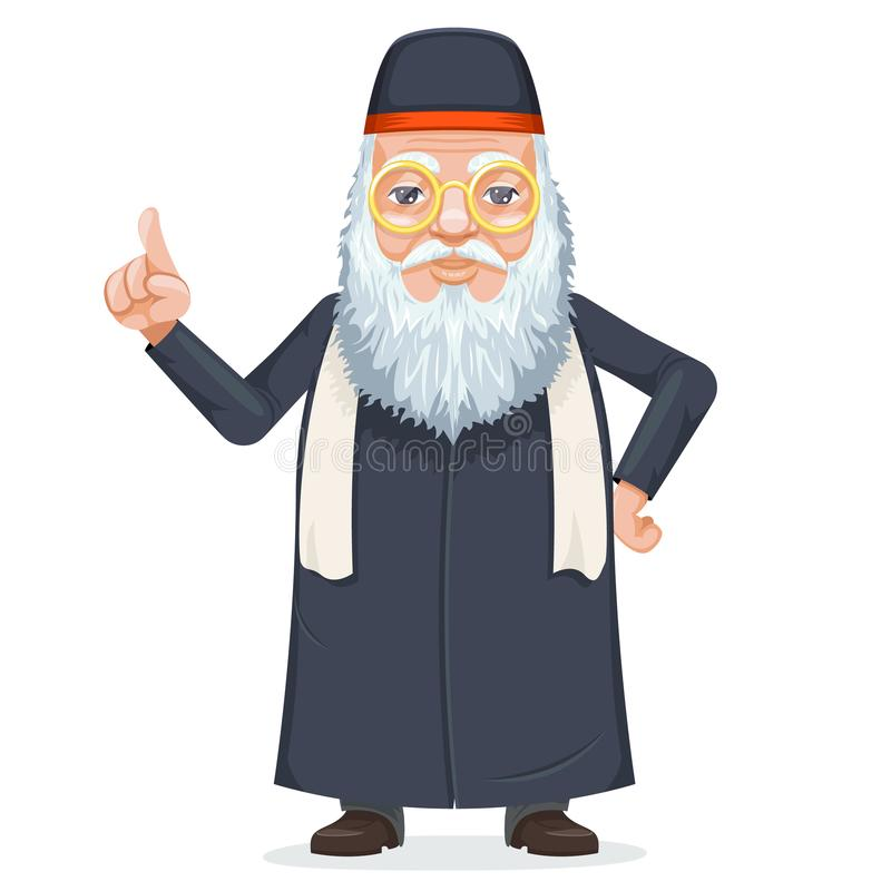 东方贤哲教士mage犹太教教士胡子老奥秘圣人秘密知识 库存例证