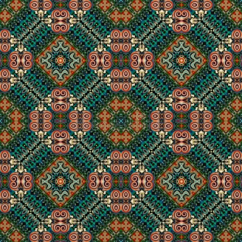 东方风格的无缝光栅图案花卉迷幻马赛克壁纸,背景,挂毯装饰, 向量例证