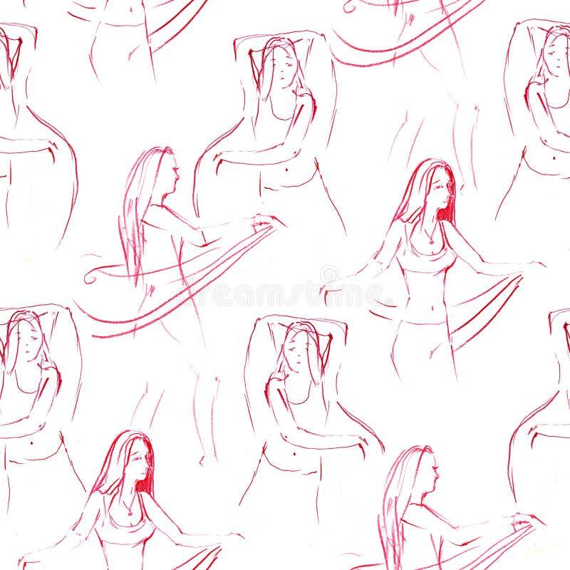 东方danser无缝的样式 与女孩肚皮舞的装饰品美丽的卡片 手拉几何的元素 向量例证