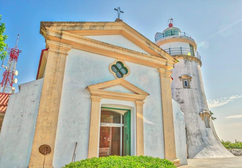 东望洋教堂和灯塔澳门 免版税库存照片