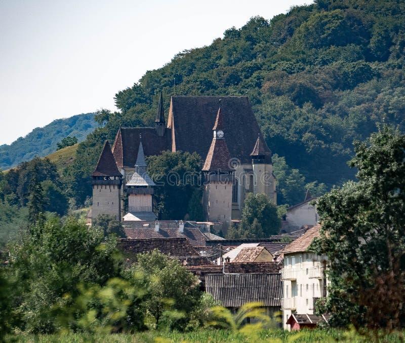 东欧中世纪被加强的教会 免版税库存照片
