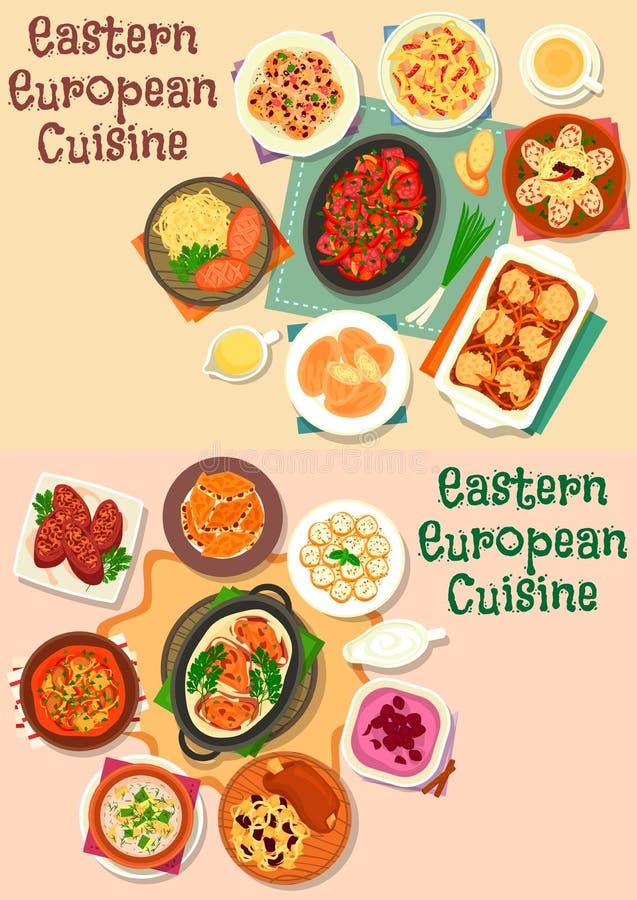 东欧烹调肉午餐象集合 向量例证