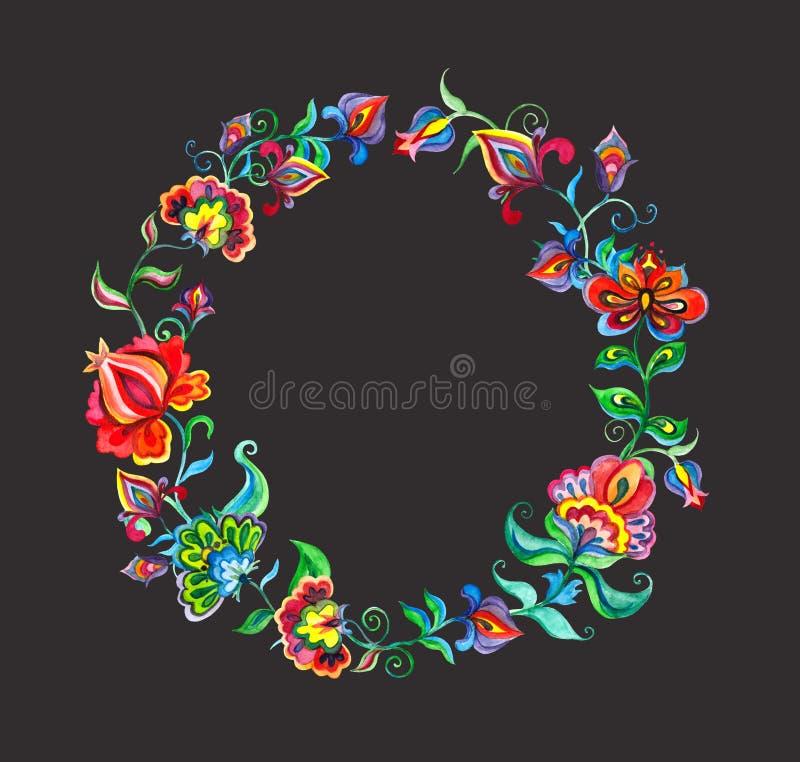 东欧花卉花圈-与风格化花的圆的边界 在黑暗的背景的水彩圈子 库存例证