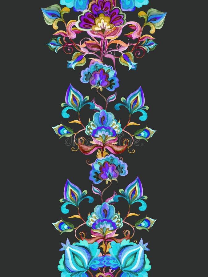 东欧花卉装饰-在黑暗的背景的装饰花 边界花卉无缝 水彩条纹 库存例证