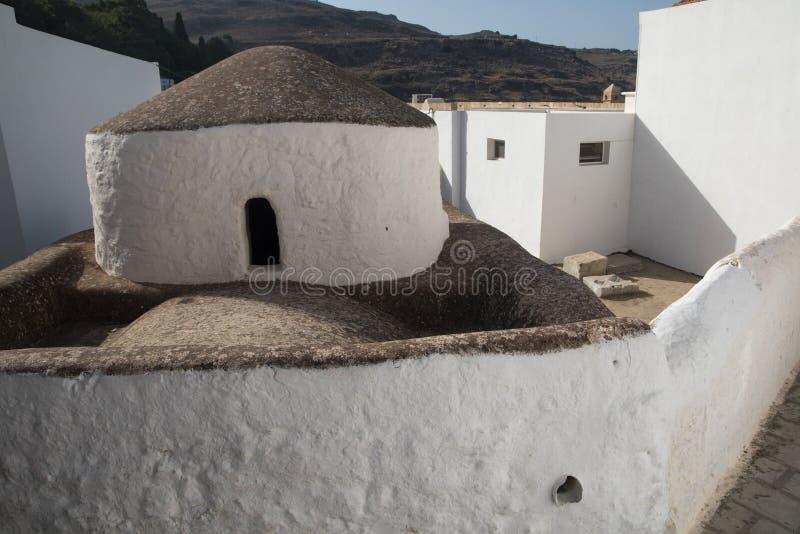 东正教在Lindos村庄罗得岛海岛 免版税库存图片