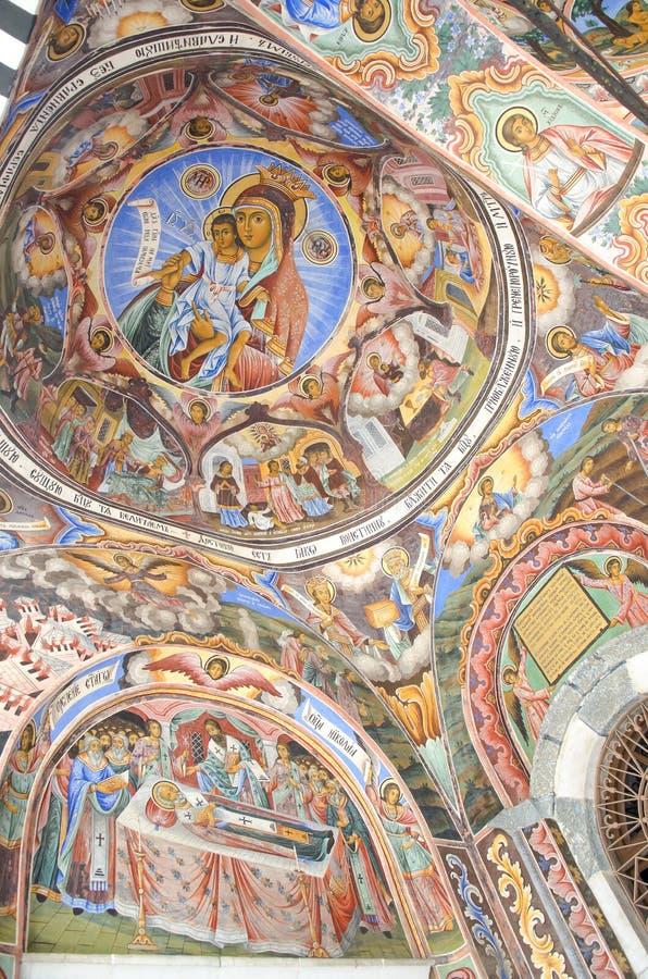 东正教宗教绘画,象在保加利亚人Rila修道院,东正教修道院,联合国科教文组织, Rila山,保加利亚里 库存图片