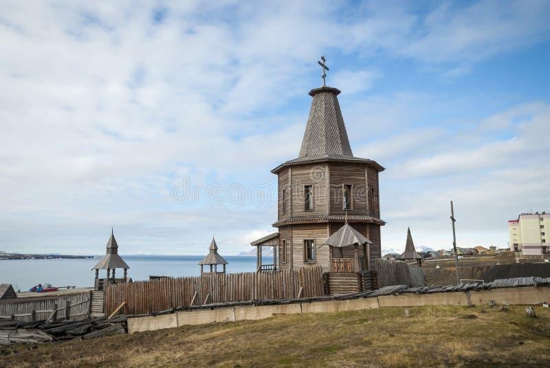 东正教教会在Barentsburg,斯瓦尔巴特群岛 库存图片