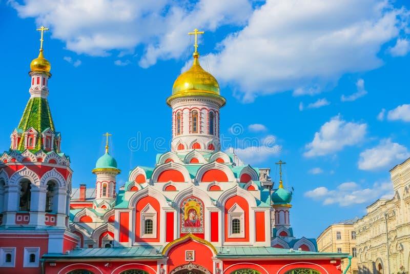 东正教红场的喀山大教堂在莫斯科 免版税库存图片
