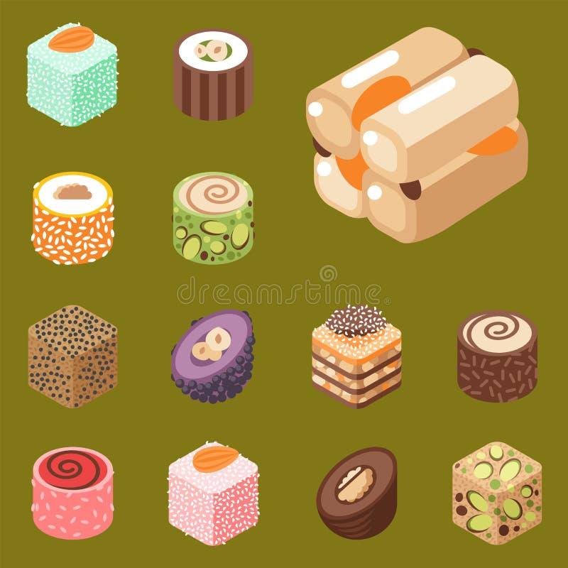 东部可口点心甜点食物糖果店自创分类传染媒介例证 库存例证