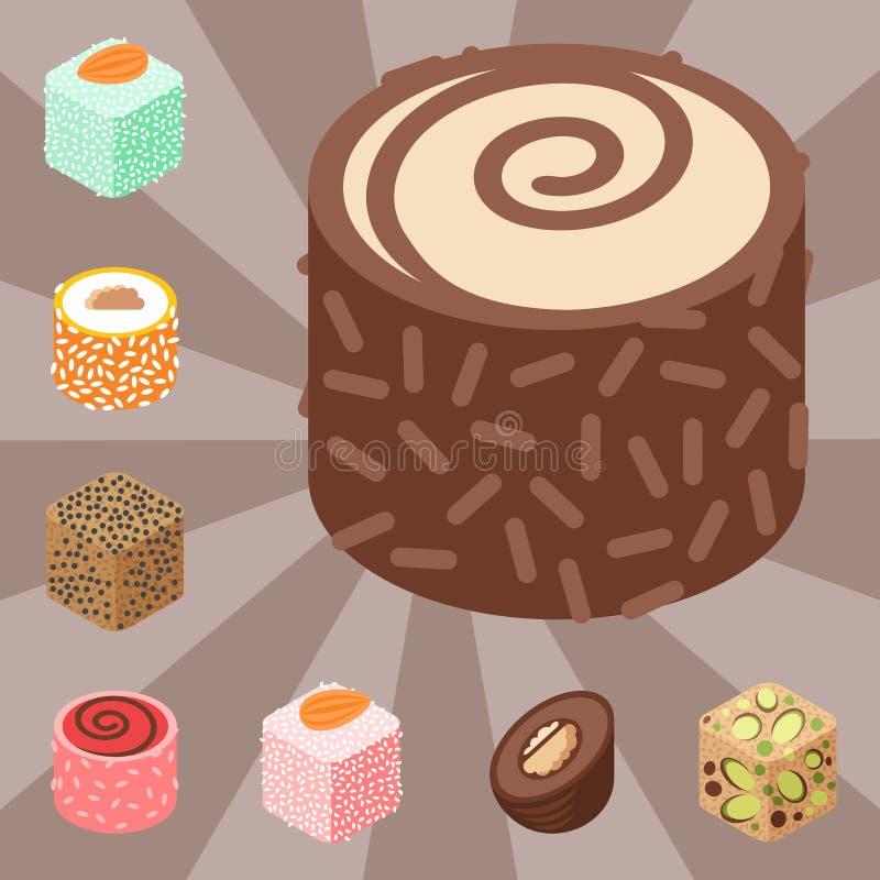 东部可口点心隔绝了甜点食物糖果店自创分类传染媒介例证 向量例证