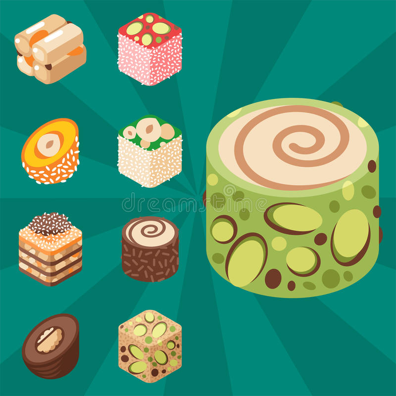 东部可口点心隔绝了甜点食物糖果店自创分类传染媒介例证 库存例证