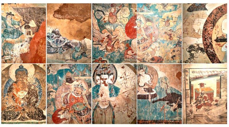 东部草原古老墙壁上的艺术  免版税库存照片