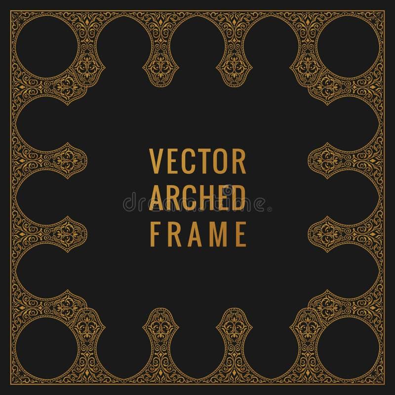 东部葡萄酒曲拱卡片 阿拉伯装饰品花卉框架 模板在东方样式的设计元素 库存例证
