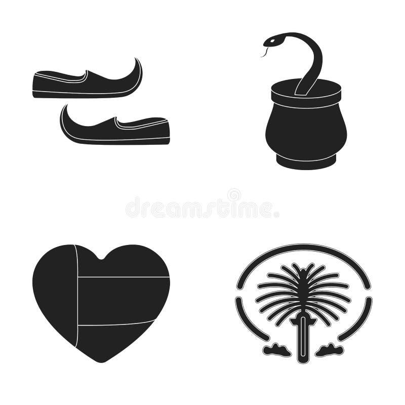东部鞋子,匕首,酋长管辖区的心脏,棕榈Jumeirah 阿拉伯酋长管辖区设置了在黑样式传染媒介的汇集象 库存例证