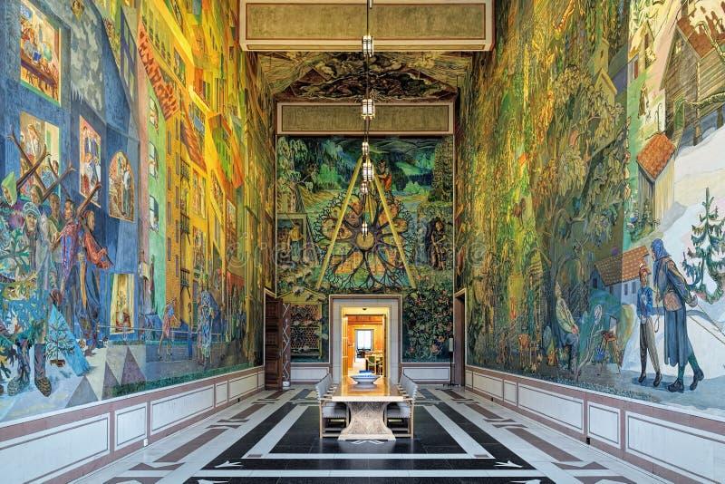 东部画廊Krohg室内部在奥斯陆香港大会堂,挪威 免版税库存图片