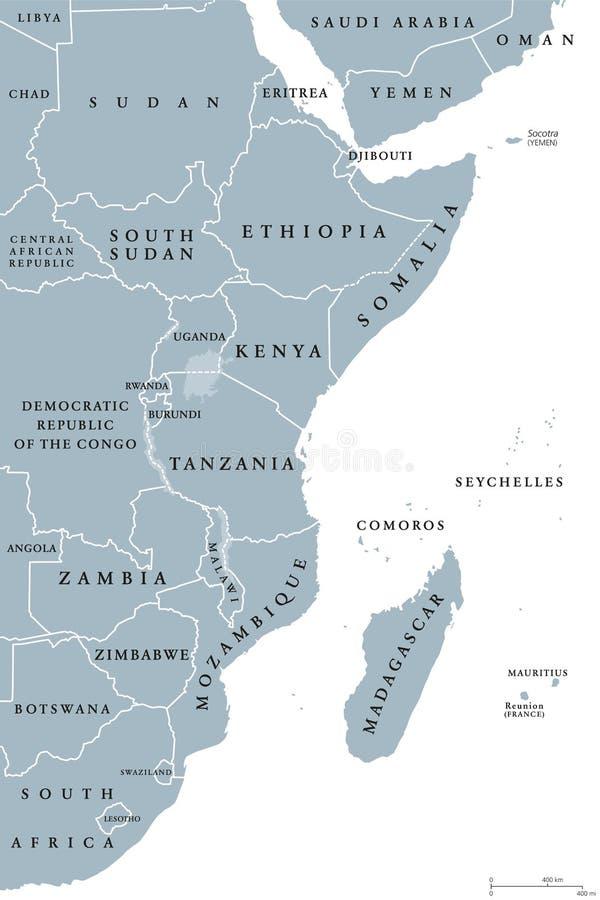 东非地区政治地图 库存例证