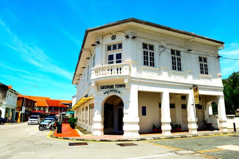 丝光斜纹棉布葡萄牙大厦,乔治镇,槟榔岛马来西亚 免版税图库摄影