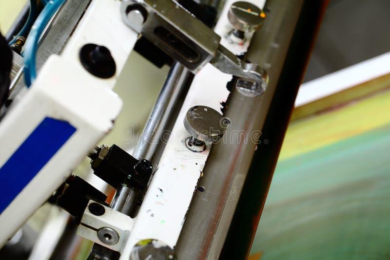 丝屏罩打印机细节在车间 免版税库存照片