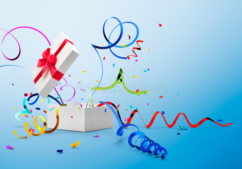 丝带和五彩纸屑出去从礼物盒 向量例证