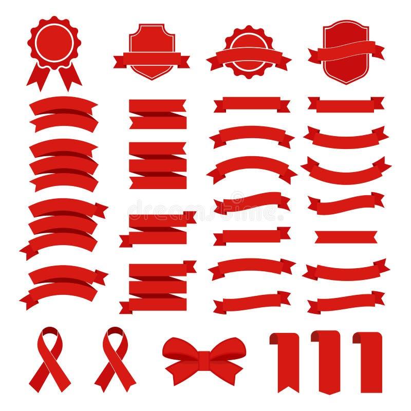 丝带在白色背景设置的传染媒介象 汇集横幅隔绝了礼物和辅助部件的形状例证 皇族释放例证