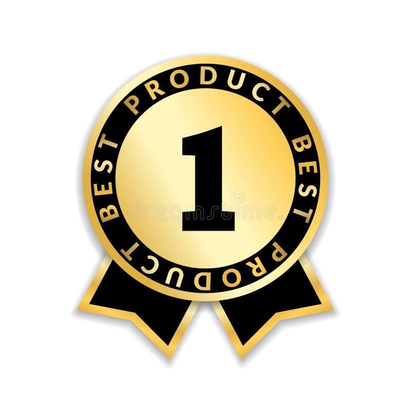 丝带奖最佳的产品 金丝带在白色背景与第一的奖象隔绝的 金黄最佳的产品 库存例证