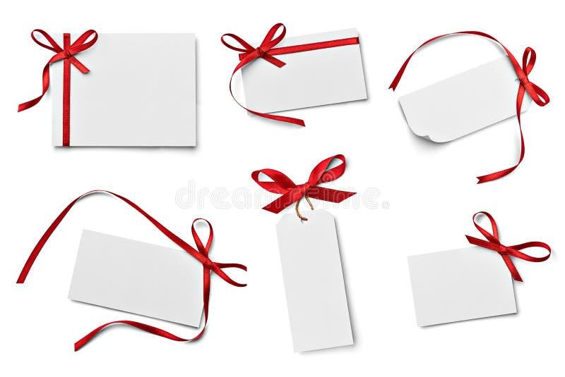 丝带弓卡片笔记chirstmas庆祝问候 库存照片