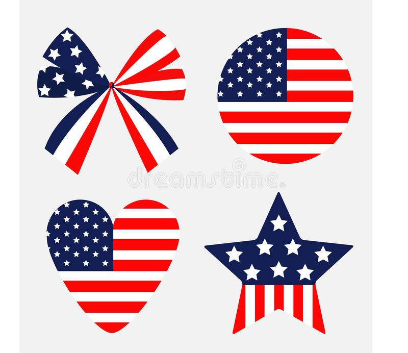 丝带弓形状圆的心脏星美国国旗担任主角并且剥离象 查出 红色和蓝色颜色 奶油被装载的饼干 假日信号 向量例证