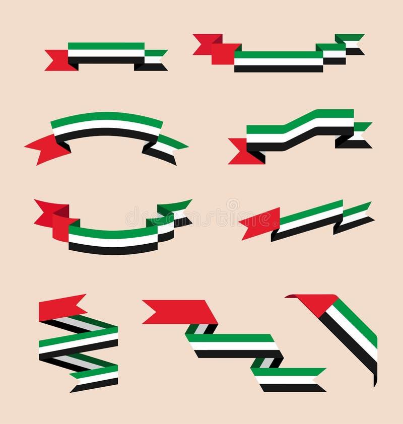 丝带或横幅在阿联酋的旗子的颜色 向量例证