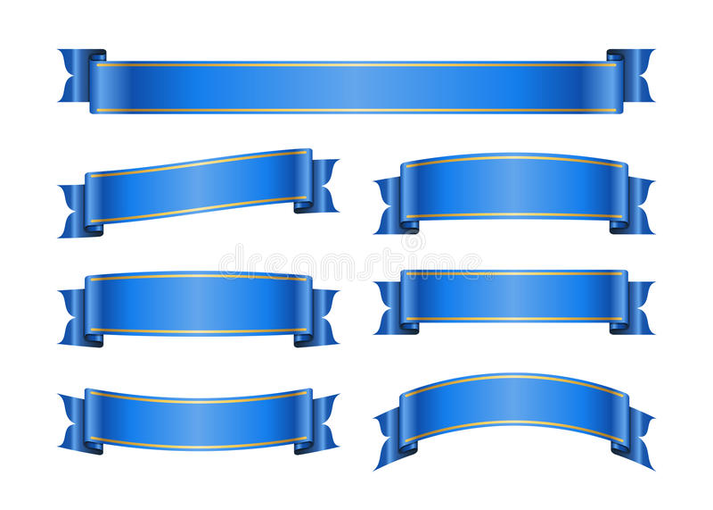 丝带蓝色横幅设置了1b 库存例证