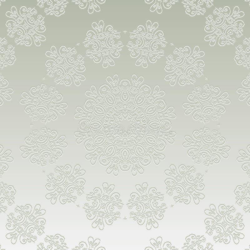 丝绸单色坛场开花的冰花或雪花 向量例证