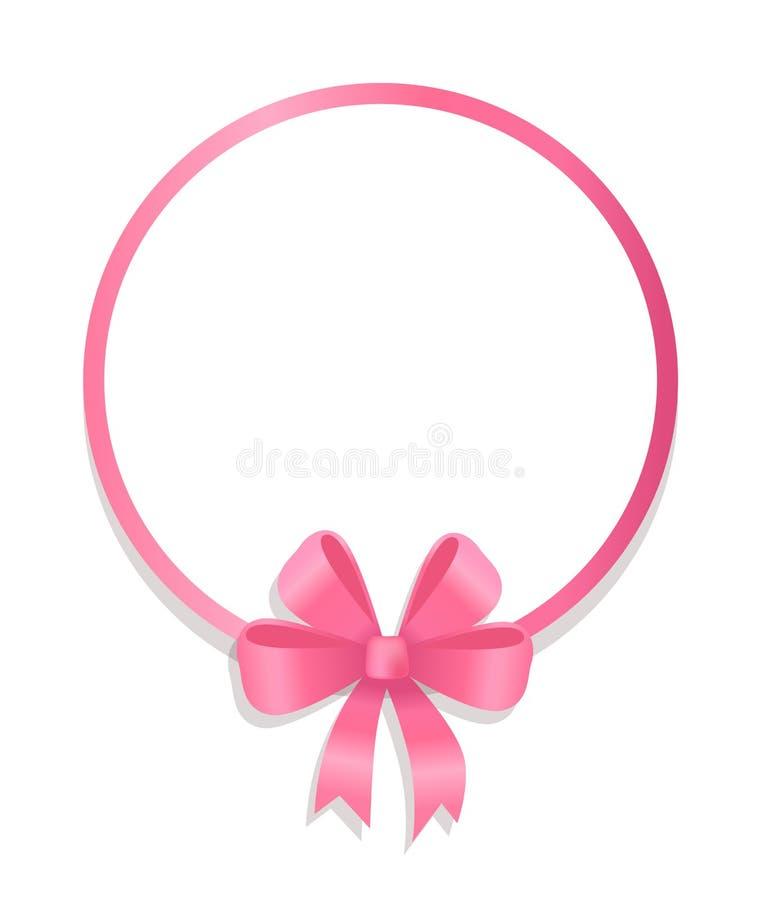 丝绸弓传染媒介装饰的圆的桃红色边界 皇族释放例证