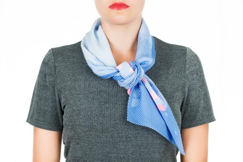 丝绸围巾 蓝色丝绸围巾在白色背景隔绝的她的脖子上 库存图片