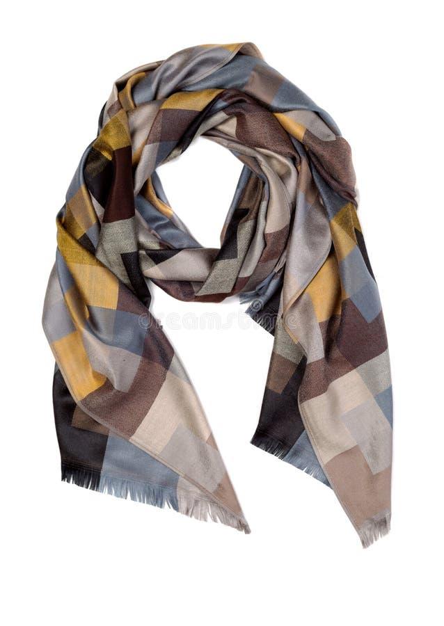 丝绸棕色和黄色围巾 免版税库存图片