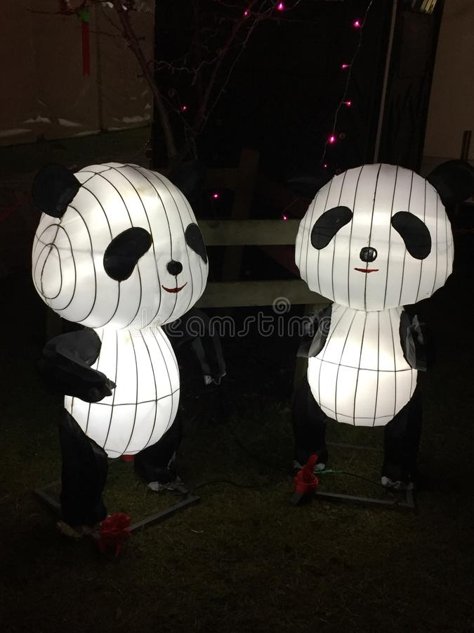 丝绸灯笼熊猫 免版税图库摄影
