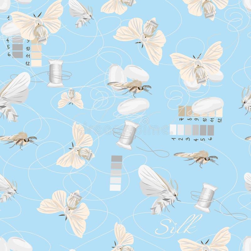 丝绸耕种深蓝无缝的传染媒介样式 向量例证