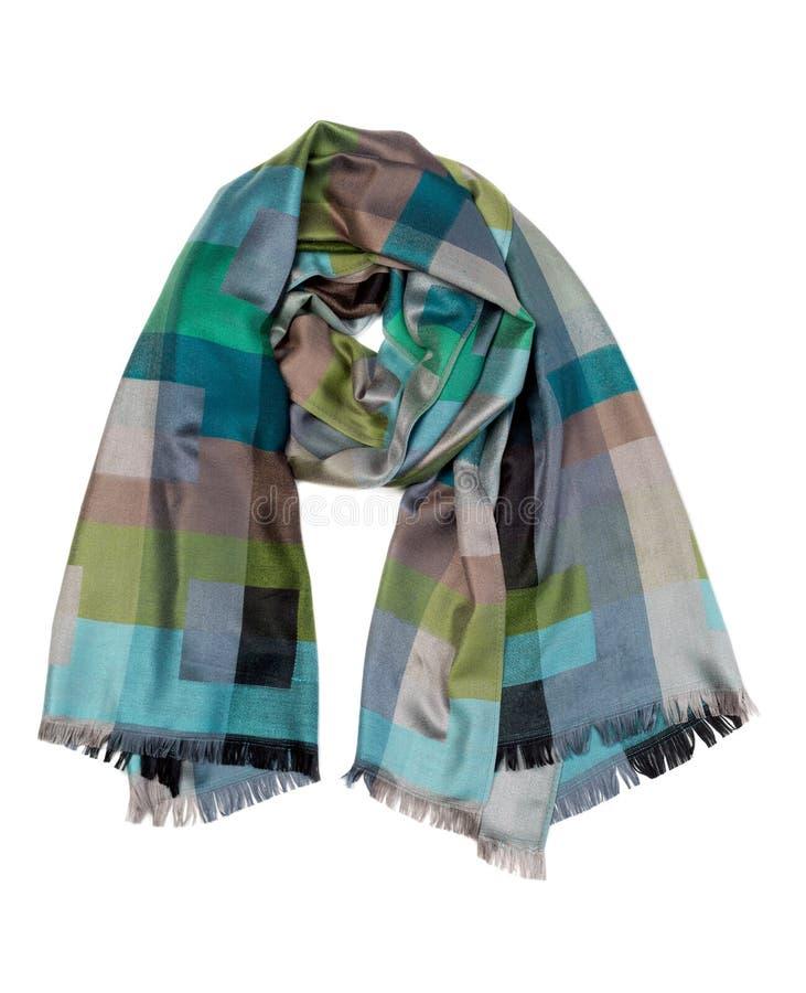 丝绸绿色和灰色围巾 图库摄影