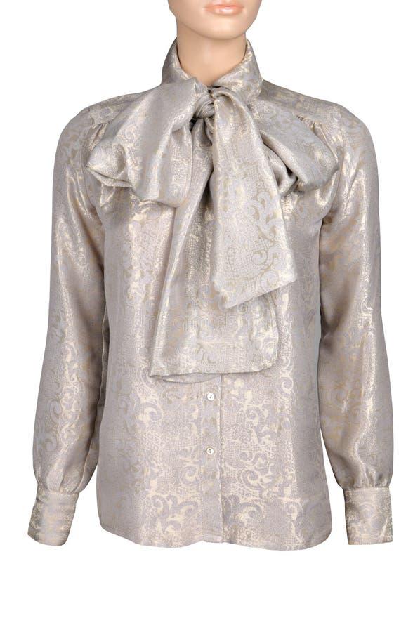 丝绸金黄女衬衫被隔绝在白色 库存图片