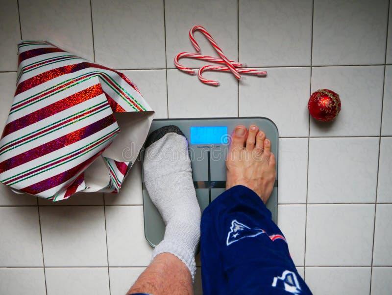 丢失的重量在假日以后 库存照片