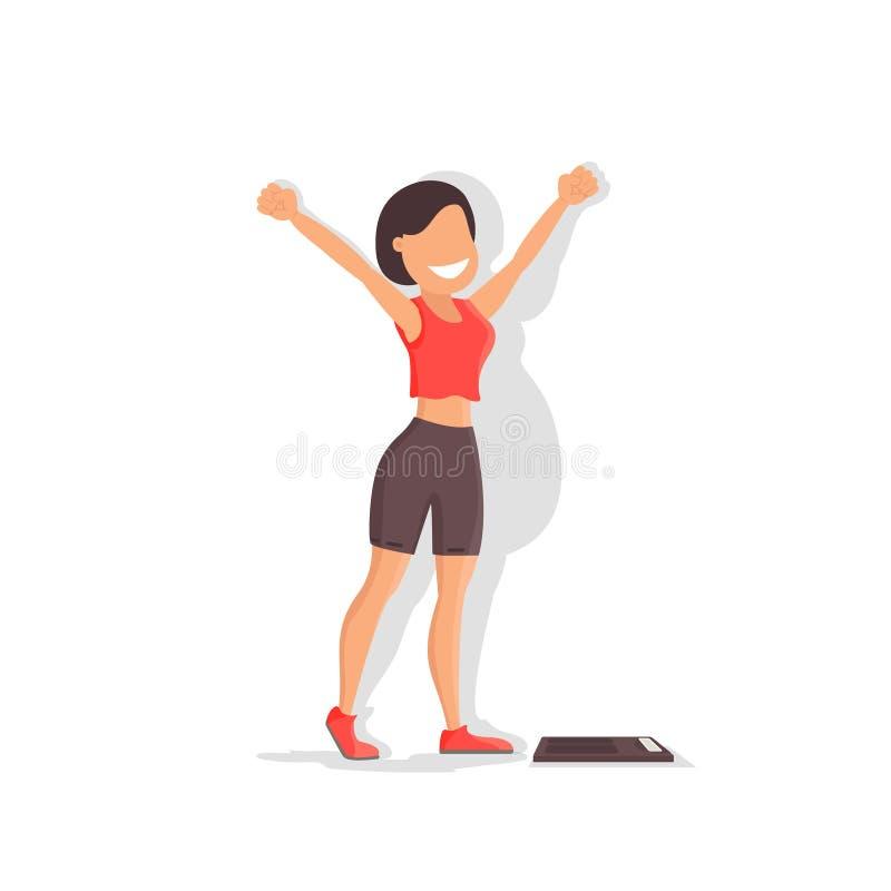 丢失的重量 有美好的图和重量的女孩 向量例证