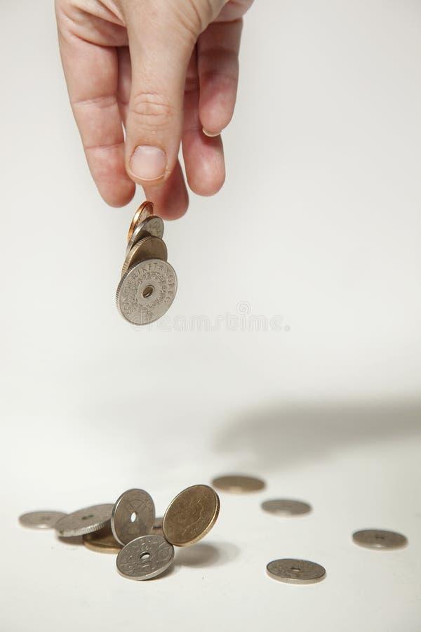 丢弃现有量挪威的硬币 免版税库存图片