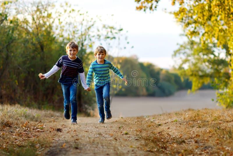 两一点学校哄骗跑和跳跃在森林愉快的孩子、最好的朋友和兄弟姐妹的男孩获得在温暖的乐趣 免版税图库摄影