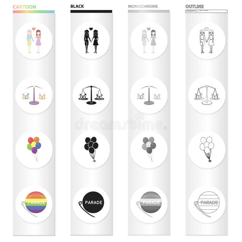 两三个女同性恋者,性少数的平等平衡,气球,同性恋游行徽章 性少数 向量例证