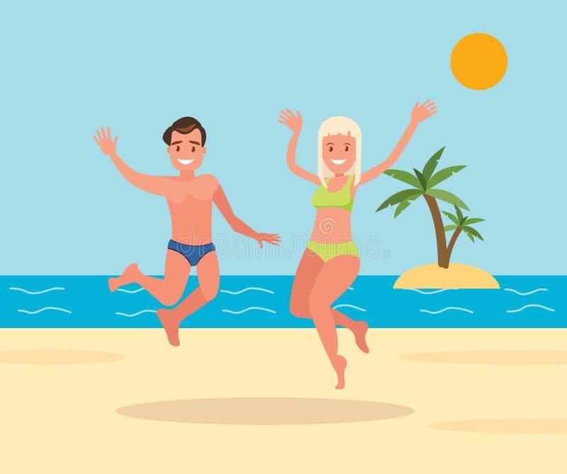 两三个年轻人、男人和妇女在海滩背景跳 皇族释放例证