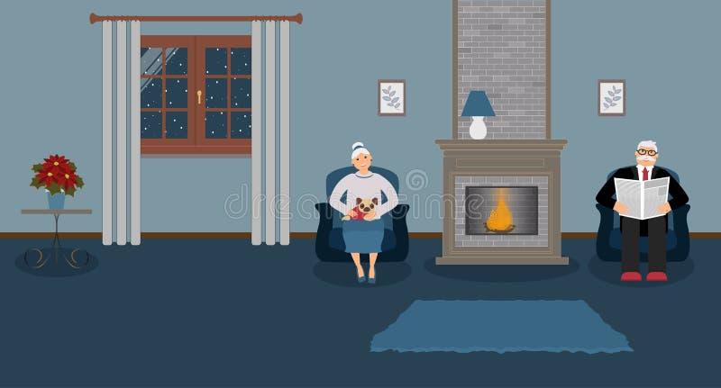 两三个老年人由壁炉坐在一个美丽的舒适蓝色客厅 库存例证