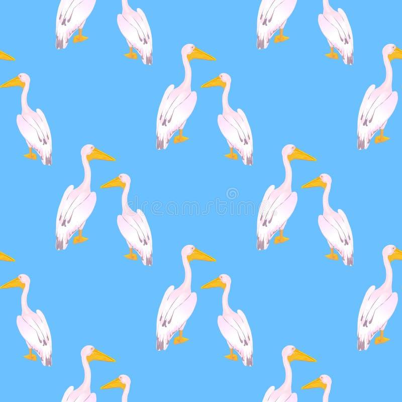 两三桃红色鹈鹕 ?? 与一张长的票据的一大群居waterbird 织品的无缝的样式,为 皇族释放例证