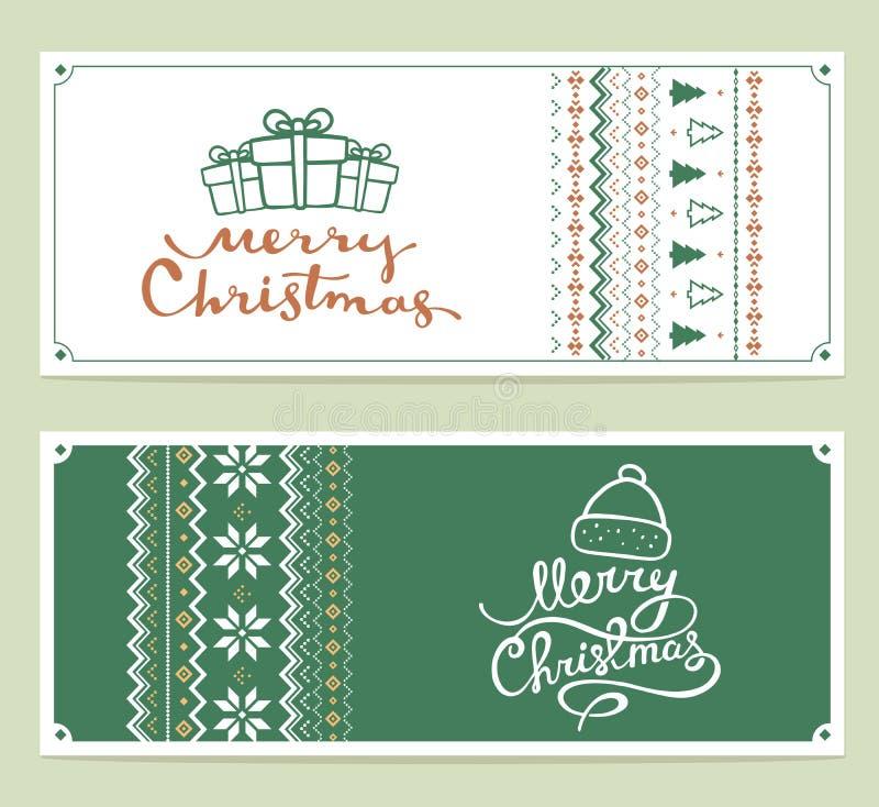 两与手写的文本的传染媒介圣诞节风格化例证 库存例证