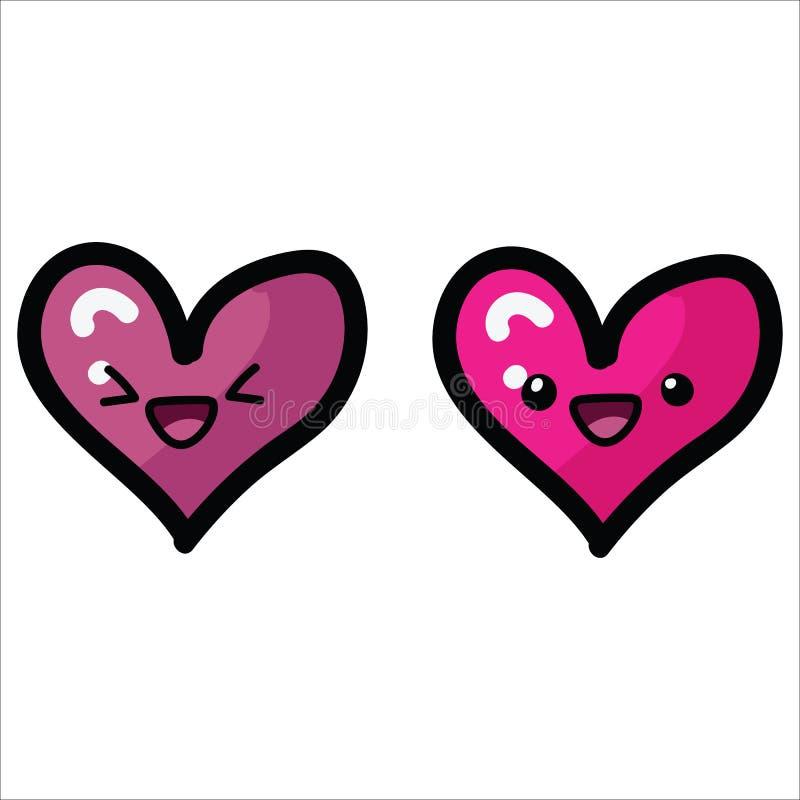 两与面孔动画片传染媒介例证主题集合的kawaii心脏 手拉的被隔绝的浪漫夫妇标志元素 向量例证