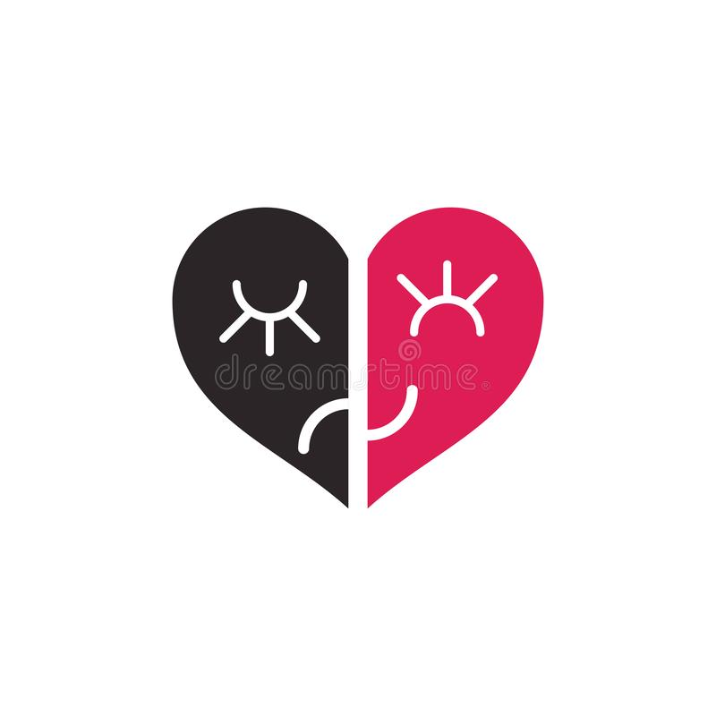 两个一半心脏 向量例证