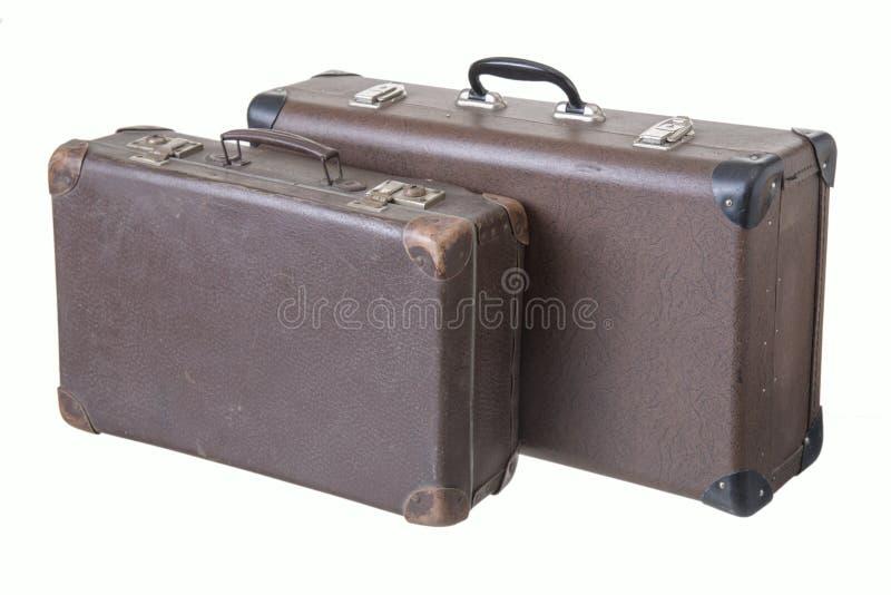 两个不同老葡萄酒手提箱 库存图片